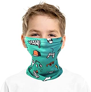 DELCAS Kids Face Mask Neck Gaiter with Ear Loops, Boys and Girls, Summer, Cooling and Breathable, Balaclava, Bandana, Scarf, for any outdoors activity, Cycling, Hiking, Sports. UV and Dust Protection.