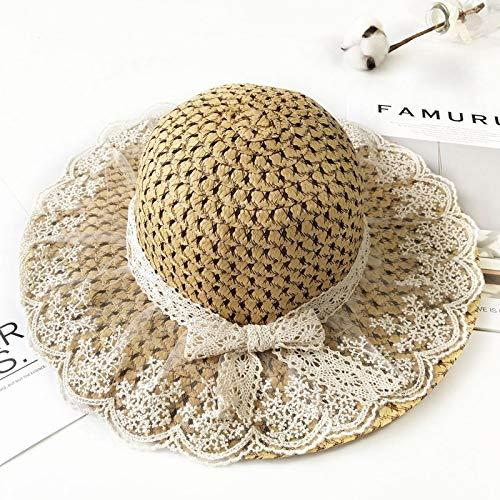xinlianxin Sombrero de verano para padres e hijos para mujer, gorro de verano con lazo de encaje beige con flores y cinta plana de paja, gorros de playa de Panamá (color: marrón, tamaño: 55 – 60 cm)