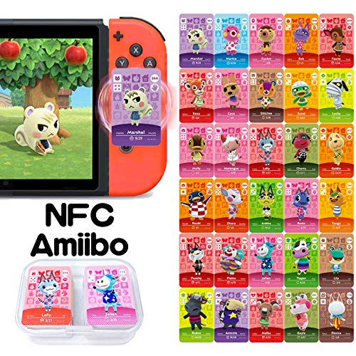30 Pcs NFC Cards for Amiibo Animal Crossing New Horizons, Game Cards for Switch/Switch Lite, Wii U, and 3DS, with Storage Box