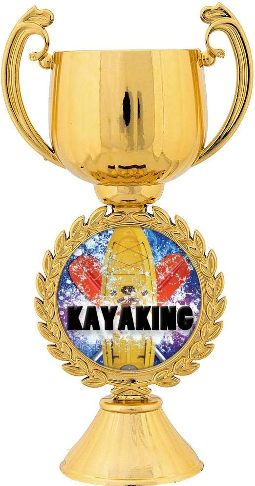 Crown Awards Personalized Kayaking Trophy 7.25 Gold Cup Kayaking Trophies with Free Custom Engraving
