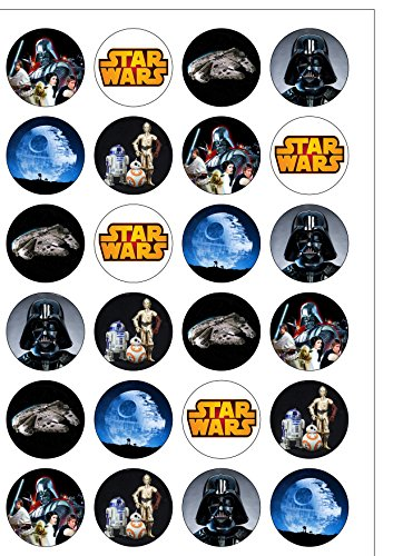 24 Precut Classic Star Wars Edible Wafer Paper Cake Toppers