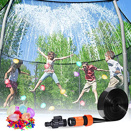 Trampoline Sprinkler 39FT Waterpark Outdoor Water Sprinklers Toy Accessories for Kids Fun Summer Water Park Backyard Yard Game for Boy Girl Outside Play Activities with 100 Water Balloons Outdoor Toys