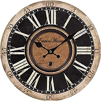 AILING Antique/Casual / Country Wood Round Indoor,Battery Wall Clock,D,