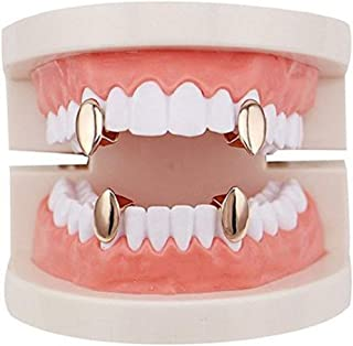 mainlead 4 PC 14k Gold Plated Vampire Dracula Single Metal Fangs Hip Hop Teeth Grills Set