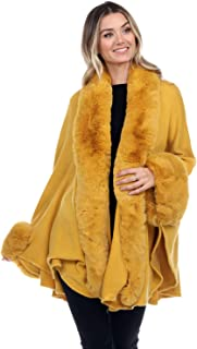 Jostar Women's Cape with Faux Fur on Neckline and Sleeves