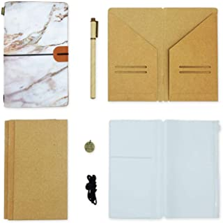 Refillable Travelers Notebook Handmade Vegan Leather Travel Journal for Journal Writing Personalized Travel Journal for Men and Women 8.6
