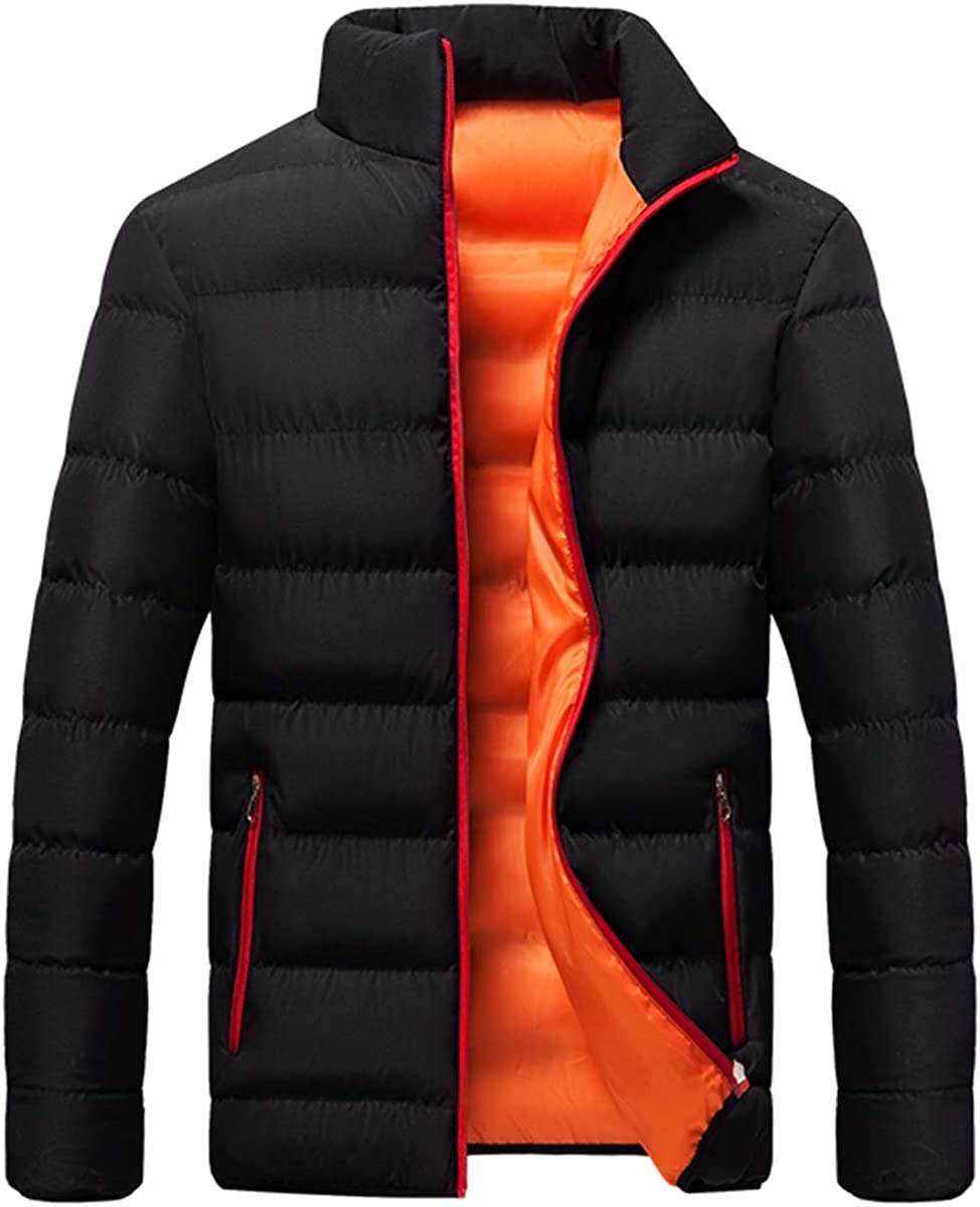 YFFUSHI Men's Padded Jacket Winter Thicken Warm Stand Collar Zipper Quilted Coat
