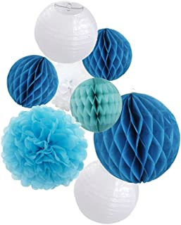 Party Decoration Kit Blue Tissue Paper Pom Poms Flowers Papers Lanterns Circle Garland Birthday Wedding Christening Frozen Theme Party Decorations for Adults Boys Girls By Sogorge