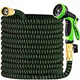 9. Garden Hose 50 ft & Nozzle, Expandable Garden Hose Heavy Duty, Retractable Water Hose 10 Function Nozzle, Flex Hose with Solid Brass Fittings &Durable Latex Core, Easy Storage with Garden Hose Holder