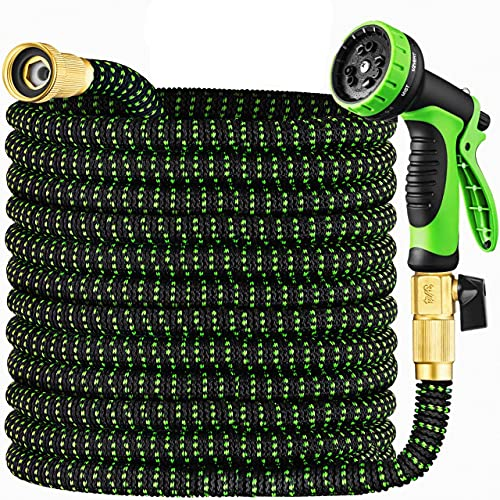 Garden Hose 50 ft & Nozzle, Expandable Garden Hose Heavy Duty, Retractable Water Hose 10 Function Nozzle, Flex Hose with Solid Brass Fittings &Durable Latex Core, Easy Storage with Garden Hose Holder