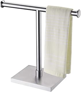 KLXHOME Freestanding Countertop Towel Holder for Bathroom Kitchen T-Shape Hand Towel Tree Rack, Brushed Stainless Steel Fi...