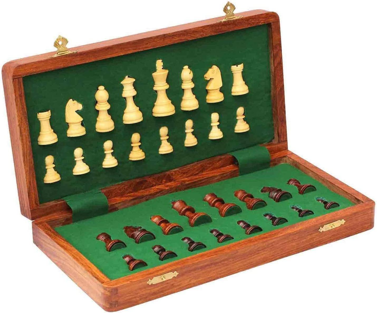 eDivine Wooden New mail order Magnetic Folding Chess Sale with Storage Set Board 17.