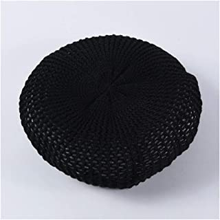 SHENTIANWEI Spring and Summer New 蓓 帽 hat Knitted Beret Bonnet Simple Solid Color Wild Retro Hollow Painter hat (Color : Black)
