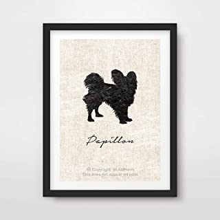 PAPILLON DOG ART PRINT POSTER Breed Silhouette Pet Home Decor Wall Picture A4 A3 A2 (10 Sizes)