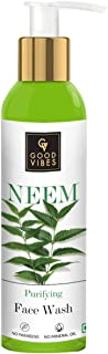 Good Vibes Neem Purifying Face Wash, 120 ml, Anti Acne Pore Cleansing Exfoliating Formula for All Skin Types, Natural, No ...