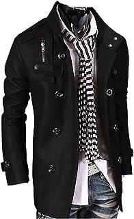 MISSMAO Men's Jackets Slim Fit Single-Breasted Half Trench Woolen Coat