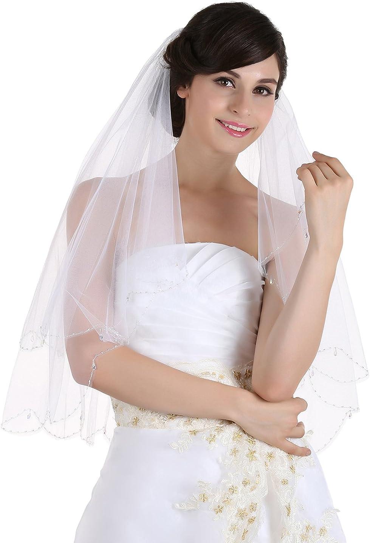 SAMKY 2T 2 Tier Scallop Edge Dangle Crystal Beaded Bridal Wedding Veil