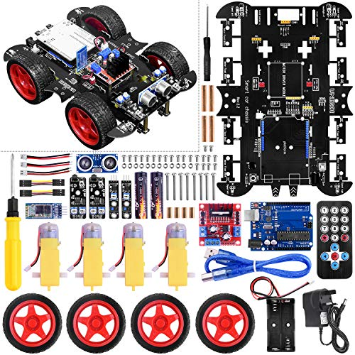 UNIROI Smart Robot Car Kit, 4WD Remote Control Car with Obstacle Avoidance Infrared Tracking Line Following (No Welding Required)