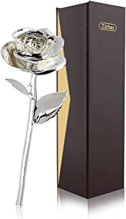 24K Gold Rose, ZJchao Premium Long Stem Silver Dippeed Real Rose Flower, Birthday, Anniversary for Mom for Her Ideas (Silver)