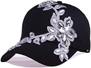 Women Variety Rhinestones and Crystal Shiny Studded Cotton Visor Hat Bling Adjustable Baseball Caps