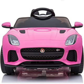 TrueMax 12V Ride on Car Jaguar F-Type SVR with Remote Control, MP3 Sound System, LED Lights - Kids Electric Power Toy - Pink (Pink)