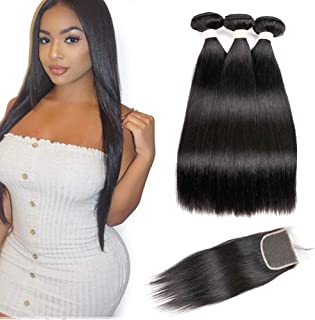 Beauhair 7A Brazilian Straight Hair 3 Bundles with Lace Closure(20 22 24 +18 Free Part Closure) Virgin Human Hair Weave 100% Unprocessed Human Natural Black Straight Remy Hair Extensions
