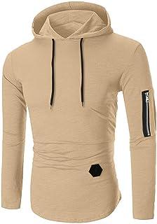 Sunhusing Men Long Sleeve T-Shirt Striped Round Neck Zip-Fitting T-Shirt Hooded Blouse