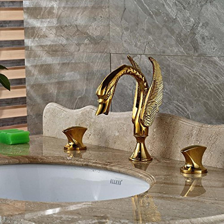 Retro Deluxe Fauceting Gro- und Einzelhandel Luxus Golden Brass Badezimmer Waschbecken Wasserhahn Dual Griffe Swan Mischbatterie