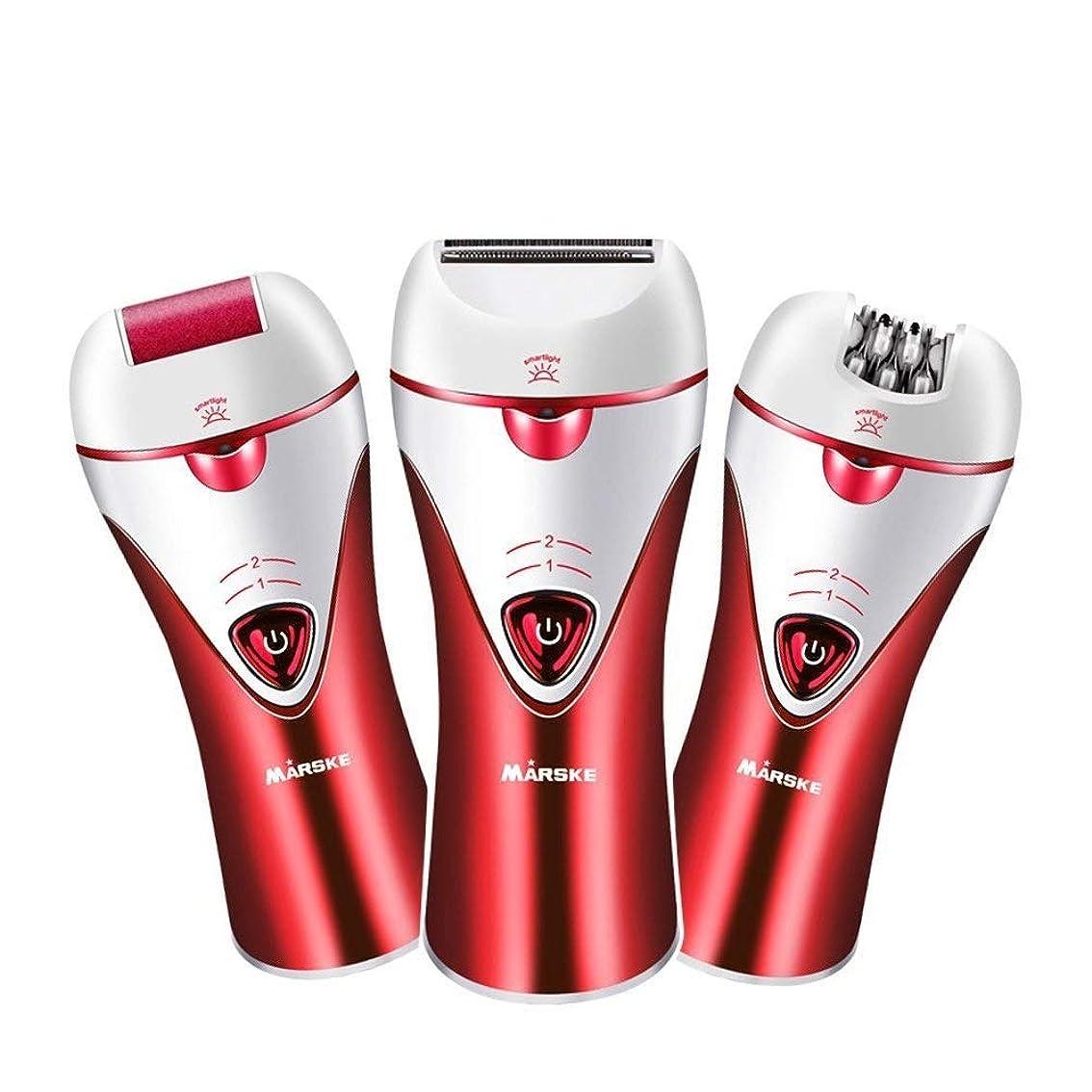 実験室また統計的Trliy- 充電式電動脱毛器、女性のための痛みのない快適さスキンケア脱毛ツール浴室ウェットとドライ脱毛器 (Color : Red)