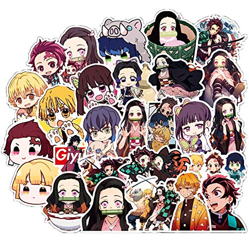 50 Pcs Demon Slayer Stickers Demon Slayer Anime Decals for Water Bottle Hydro Flask Laptop Luggage Car Bike Bicycle Waterproof Vinyl Stickers Pack