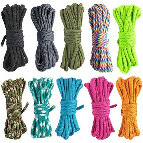 ruiyoupin Paracord armbandenset, touw, polyester, doe-het-zelf handgemaakt, voor armband, sleutelhanger, knoophanger