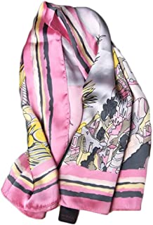 Fashion Women Scarf 90cm Printed Scarf Retro Vacation Sunscreen Shawl (Color : 02, Size : 90 * 90cm)