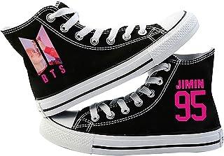 HJJ Zapatillas de lona BTS 2020 – Zapatillas de deporte estilo hiphop, con fotos de miembros BTS + número + nombre de la e...