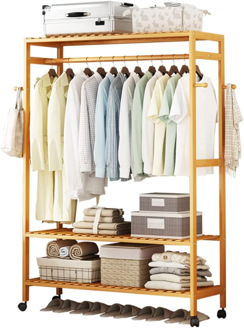 LLLD Bamboo Garment Clothes Rack Standing All stores are sold with Beauty products Shelves Free and