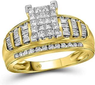 FB Jewels 14K Yellow Gold Womens Princess Diamond Cluster Bridal Wedding Engagement Ring 1.00 Cttw (Primary Stone: I2-I3 c...