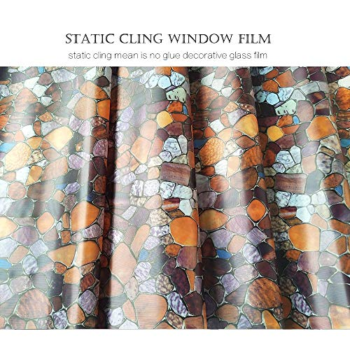 KUNHAN Raamfolie Raamsticker Vinyl Zon Blokkeren Kleur Venster Film Statische Cling Bruin Stone Covering Film Geen Lijm Decoratieve Venster Film, 17,7 X 78,7 Inch