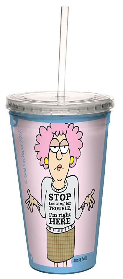 Tree-Free Greetings cc33875 Hilarious Aunty Acid Double-Walled Cool Cup with Reusable Straw, Trouble, 16-Ounce