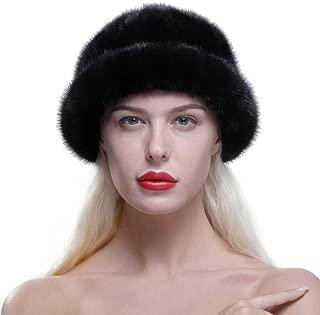 Women's Genuine Mink Fur Roller Hat Cap with Mink Top Multicolor