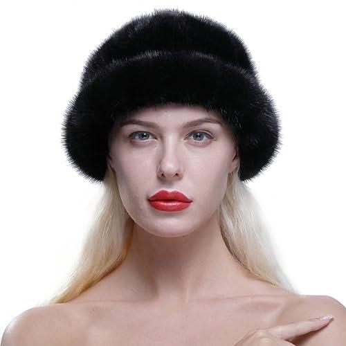 bda588892dfdf URSFUR Women s Genuine Mink Fur Roller Hat Cap with Mink Top Multicolor