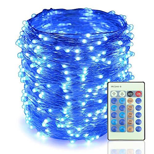 LED String Lights 165ft 500 LED Dimmerabile con telecomando, Luci stellate impermeabili per DIY Camera da letto, Patio, Giardino, Cancello, Cortile, Festa, Matrimonio (Filo di rame luci, Blu)