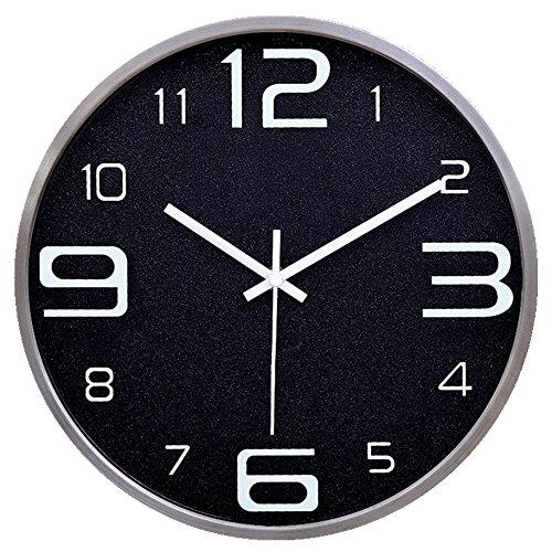 ZloveM Große Wanduhr Nicht Tickende Stille Dekorative Uhren Für Wohnküche Wohnzimmer Schlafzimmer Büro Metall Quarzuhr 14 Zoll Durchmesser 35,5 Cmi