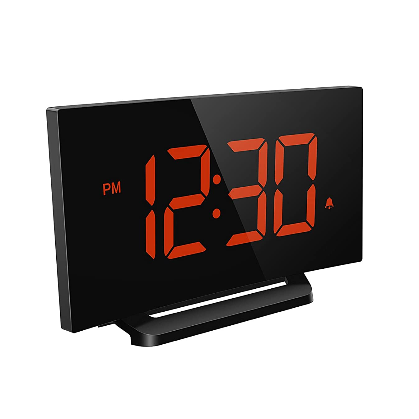 Mpow Digital Alarm Clock, Curved-Screen Clock with 3.75'' LED Dimmer Digits Display, Bedside Alarm Clock with 3 Alarm Sounds, 30 Minute Ring Time, 12/24 Hour, Backup for Clock Setting, Orange