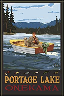 """Portage Lake Michigan Fisherman in Boat Giclee Art Print Poster from Original Travel Artwork by Artist Paul A. Lanquist 24"""" x 36"""""""