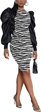 Adogirl Bodycon Dresses for Women - Puff Long Sleeve Party Pencil Midi Dress