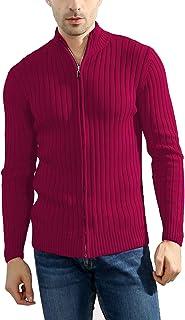 Lentta Men's Long Sleeve Stand Collar Full Zip up Solid Cotton Cardigan Sweater