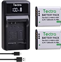 Tectra 2pcs LI-90B Batteries and LED USB Charger Compatible with Olympus SH-50 iHS SH-60 SP-100 Tough TG-1 TG-2 TG-3 TG-4 TG-5 TG-6 XZ-2 iHS TG-Tracker Camera as LI-92B