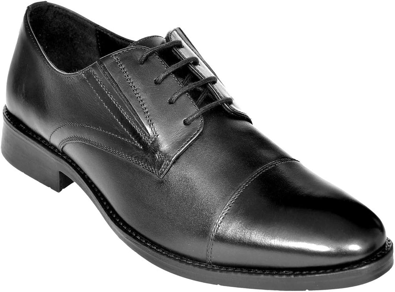 OHM New York Cap Toe Lace up shoes Slip- On Option Black