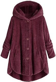 Aniywn Plus Size Women Winter Button Down Coat Jacket Tops Plush Wool Cardigan Hooded Sweatshirt Solid