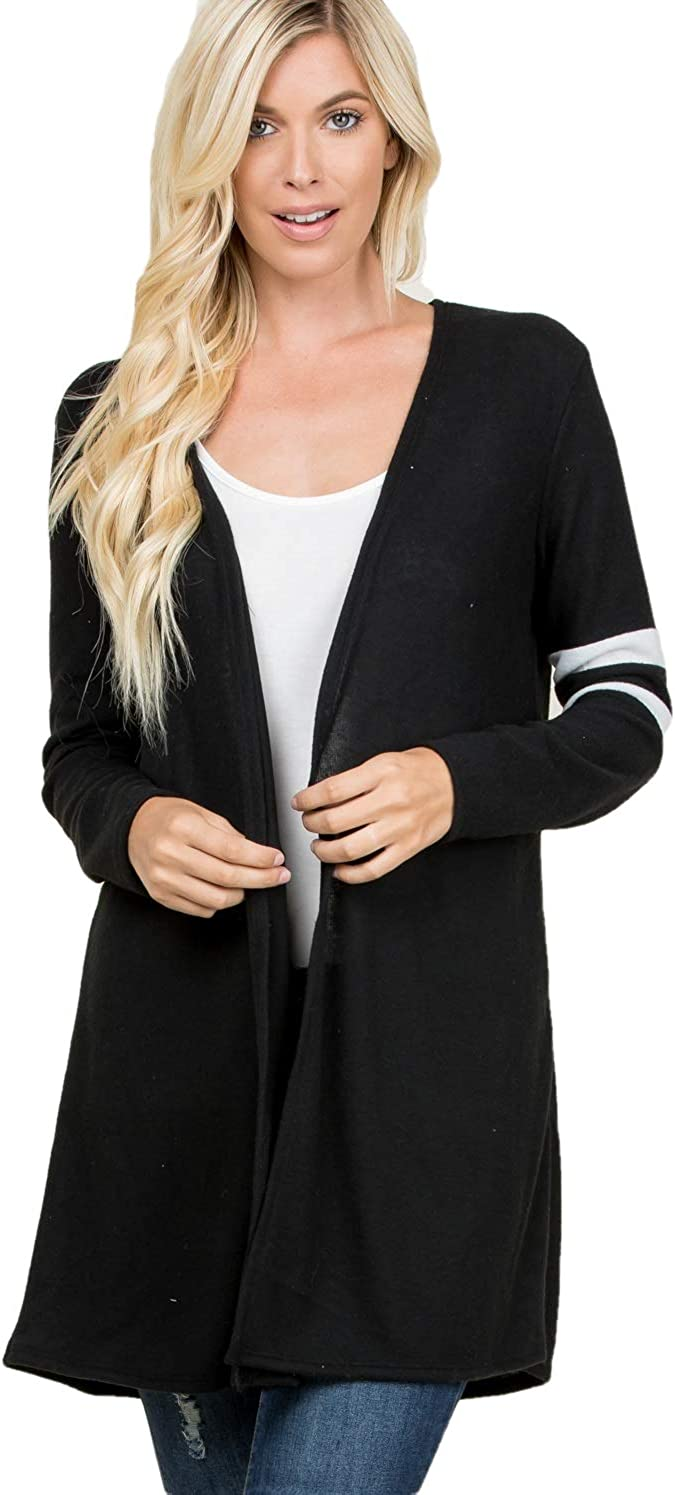 C.U.AGAIN Women's Knit Cardigan Sweater - Casual Open Front Long Sleeve Lightweight Soft Loose Fit Outwear Made in USA