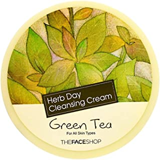 The Face Shop Herb Day Cleansing Cream, Green Tea Instant and Waterproof Make Up Remover with Green Tea extracts,150ml